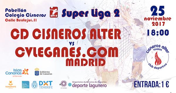 El CD Cisneros Alter busca la victoria ante el líder del Grupo B de la Superliga 2 masculina de voleibol