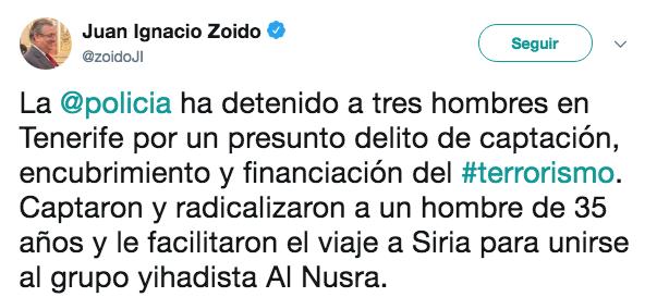 La Policía detiene en Tenerife a tres personas por organizar y sufragar el viaje de un yihadista a Siria