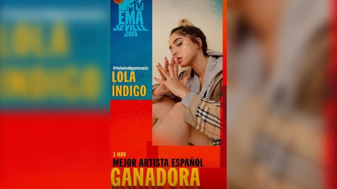Lola Índigo se alza con el MTV a Mejor Artista Española