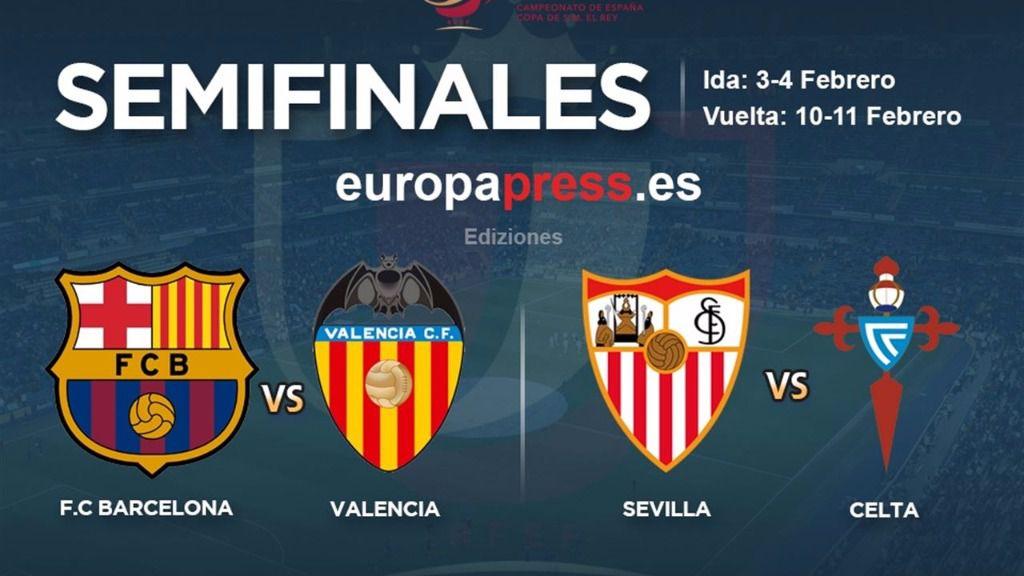 Barça-Valencia y Sevilla-Celta, semifinales de Copa