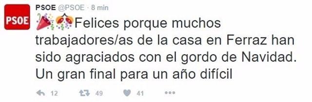 Imagen del tuit del PSOE al conocer la noticia