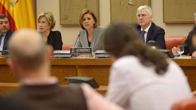 Cospedal durante su comparecencia en la Comisión de Defensa del Congreso