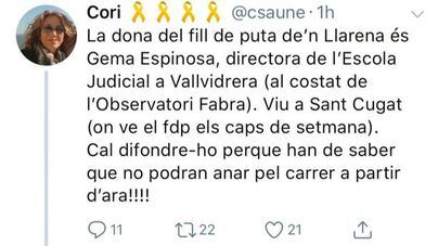 La fiscalía investiga amenazas en Twitter a la mujer del juez Llarena