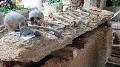 Sarcófago hallado en la iglesia de San Fermo de Maggiore, en Verona. Imagen facilitada por el Instituto de Biología Evolutiva