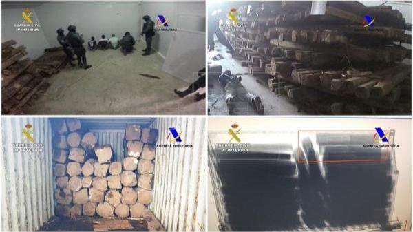 Hallados 1.250 kilos de cocaína ocultos en troncos procedentes de Ecuador