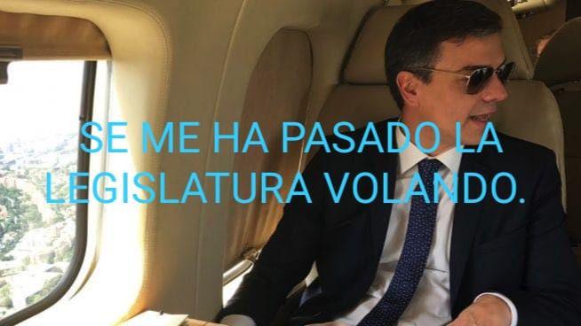 Viral de Internet: a Sánchez se la pasa la legislatura volando