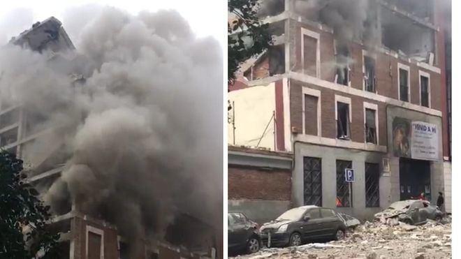Una explosión reduce a escombros parte de un edificio de la zona de Puerta de Toledo, en Madrid