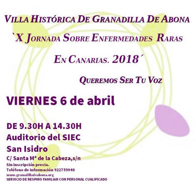 Granadilla de Abona acoge este viernes la X Jornada de Enfermedades Raras en Canarias