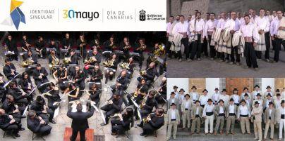 Medio centenar de músicos de bandas tinerfeñas se unen para ofrecer el concierto extraordinario del Día de Canarias