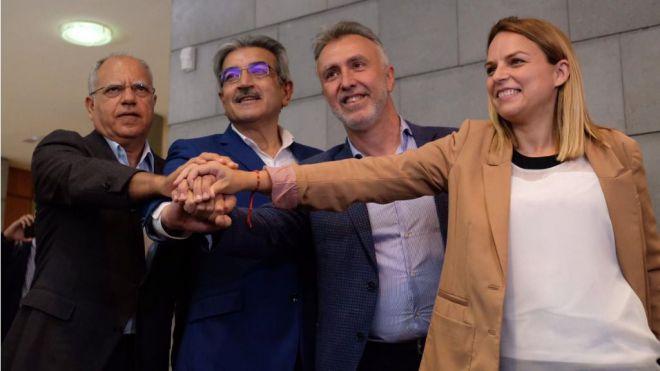 El PSOE, NC, Podemos y ASG pactan para gobernar Canarias