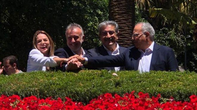 PSOE, NC, Podemos y ASG firman el 'pacto de las flores' con 8 ejes programáticos
