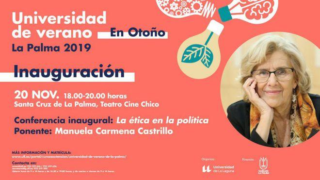 Manuela Carmena estará presente en la inauguración de la Universidad de Verano en Otoño de la isla de La Palma