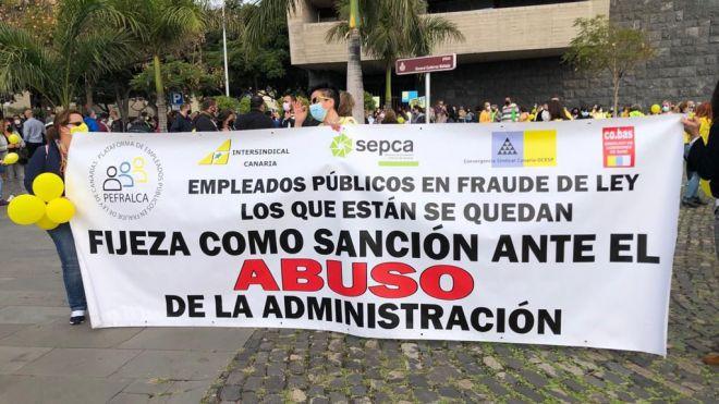 Un 90% de los trabajadores temporales del Gobierno de Canarias secundan la jornada de huelga indefinida