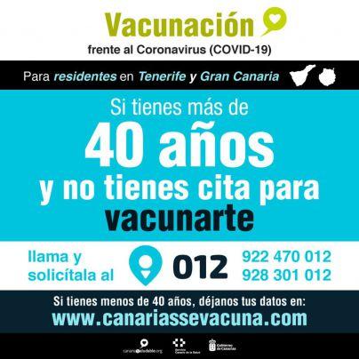Los residentes en Gran Canaria y Tenerife mayores de 40 años que no han sido vacunados pueden pedir cita en el 012