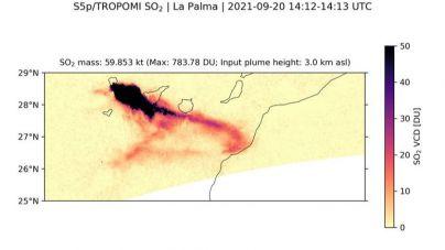 Emisión de dióxido de azufre (SO2) a la atmósfera por la nueva erupción