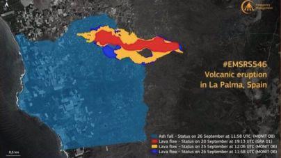 La lava cubre 258 hectáreas afectando a su paso a 686 edificaciones y más de 22,2 km de carretera