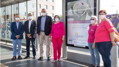El Cabildo y Ámate inician una campaña de sensibilización sobre el cáncer de mama en las paradas del tranvía