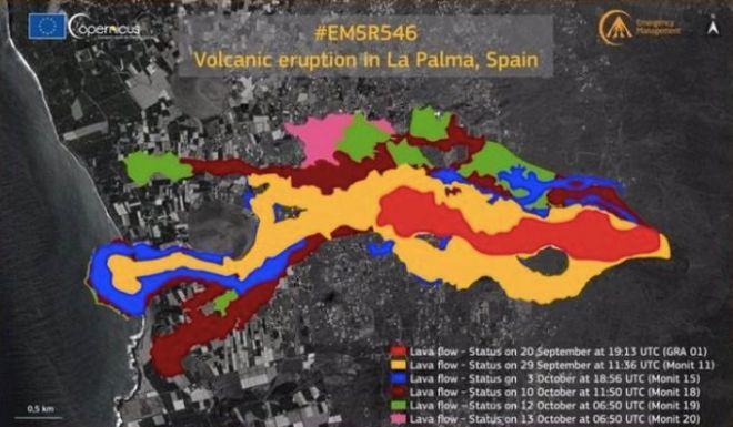 Copernicus detecta 1.826 construcciones destruidas por la lava en La Palma