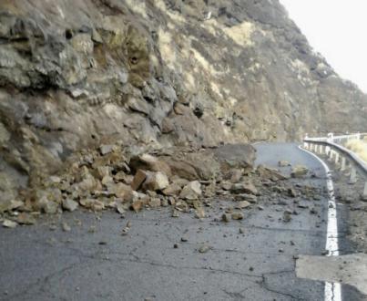 Desprendimientos ocurridos esta madrugada por las lluvias en Gran Canaria