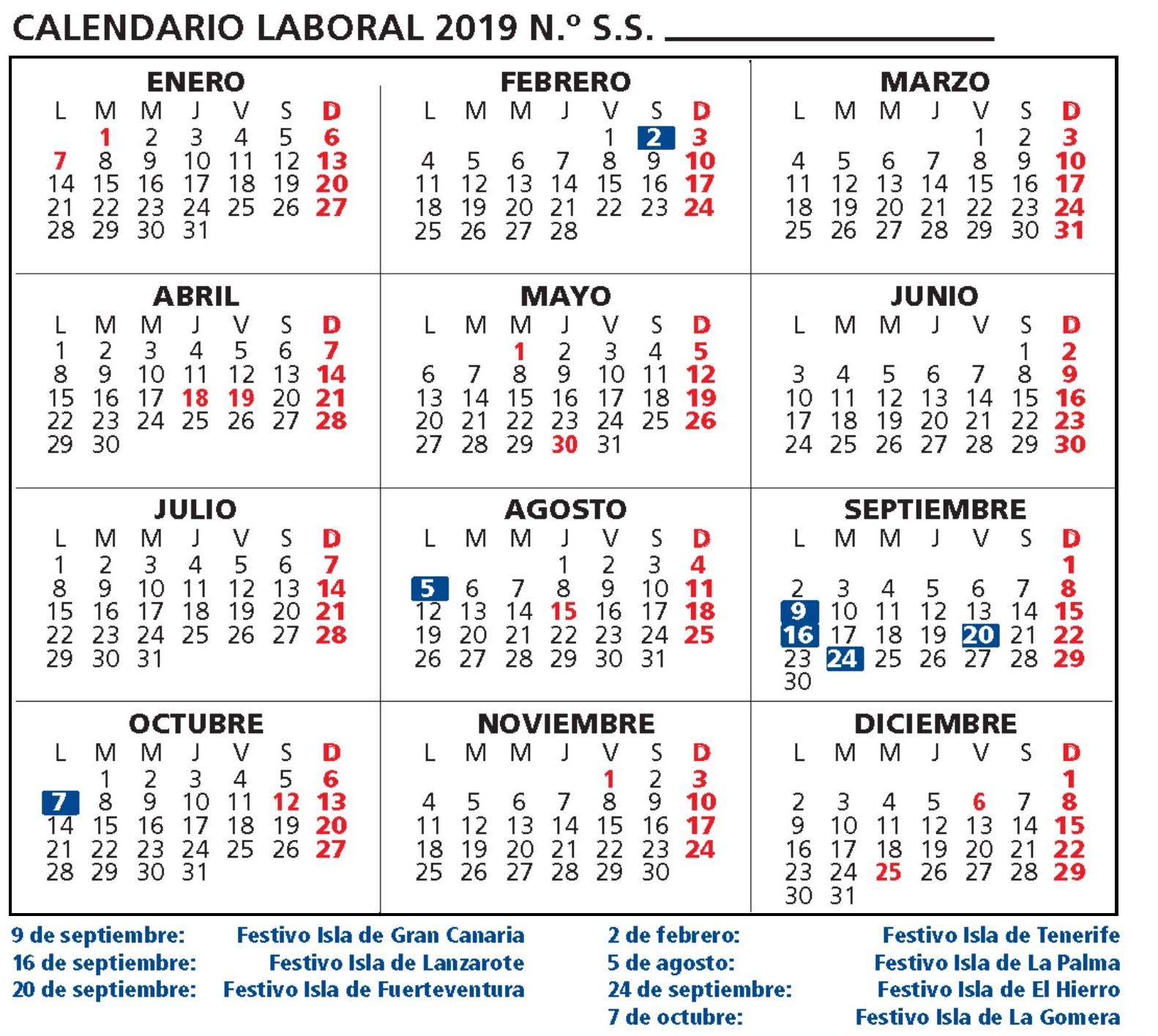 Calendario Laboral 2020 Canarias.Calendario Laboral Provincia Gran Canaria 2019 Canariasdiario Com