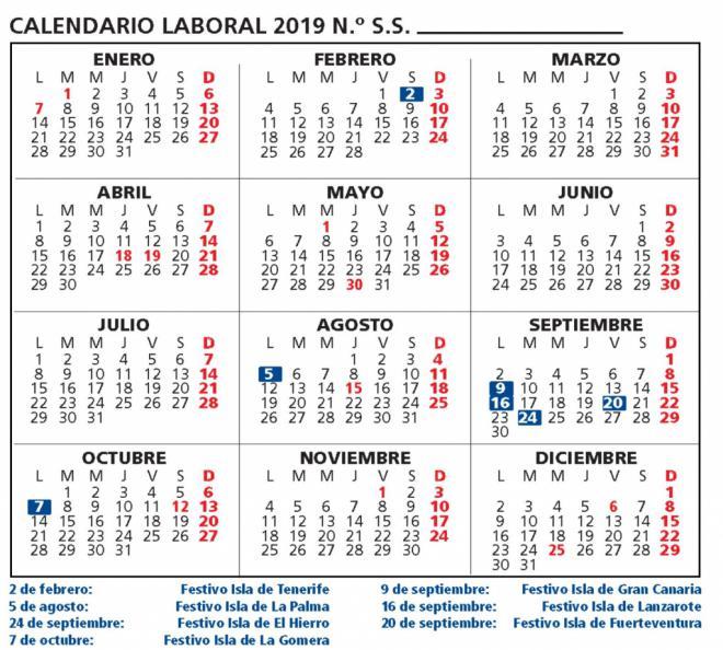 Calendario Laboral Provincia Tenerife 2019