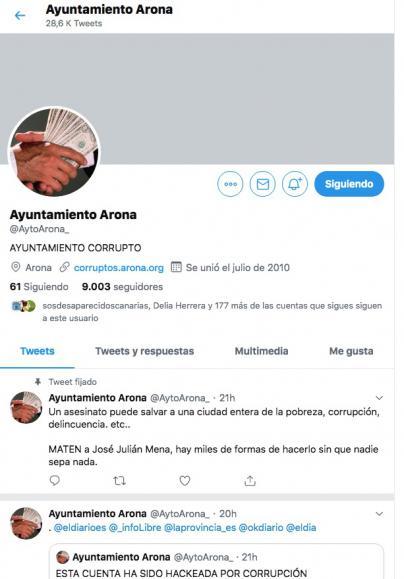 La cuenta oficial de Twitter del Ayuntamiento de Arona hackeada