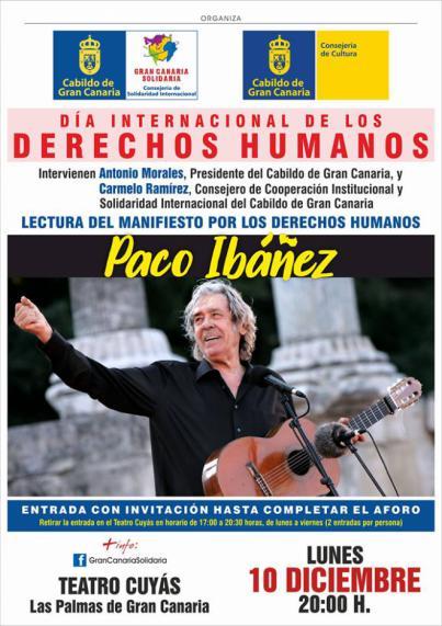 Paco Ibáñez cantará por la libertad en el Día de los Derechos Humanos