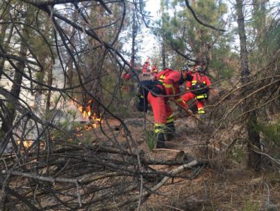 El incendio de Granadilla sigue sin control y afecta a 330 hectáreas
