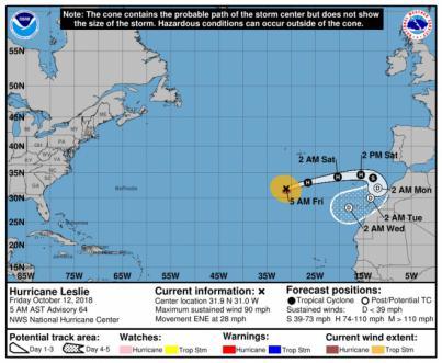 Seguridad y Emergencias pone en preaviso a los cabildos por el ciclón Leslie