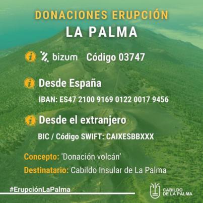 Donaciones afectados por el volcán de La Palma