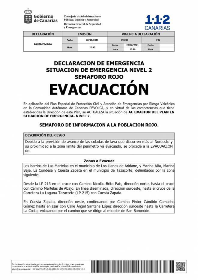 Pevolca ordena la evacuación de nuevas zonas