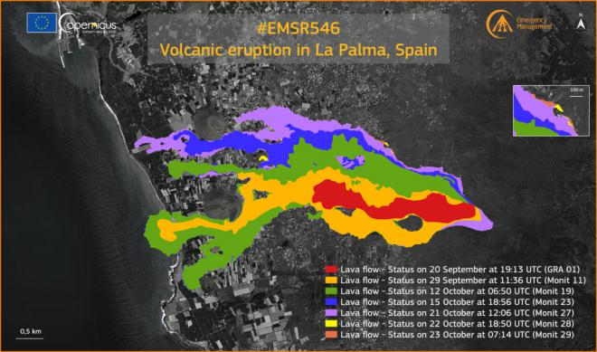 Copernicus actualiza el monitoreo en la zona del volcán, que afecta ya a 891,9 hectáreas y 2.270 edificaciones