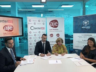 Charter 100 Gran Canaria y AJE Las Palmas firman un acuerdo para equilibrar la presencia femenina y masculina en las empresas canarias