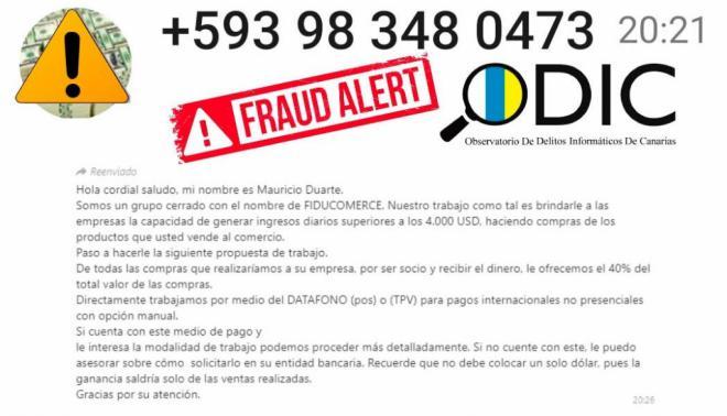 Alerta: intentan estafar a empresa españolas a través del clonado de Datáfono y TPV
