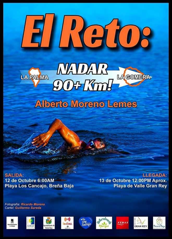 El nadador Alberto Moreno Lemes afronta el reto entre La Palma y La Gomera