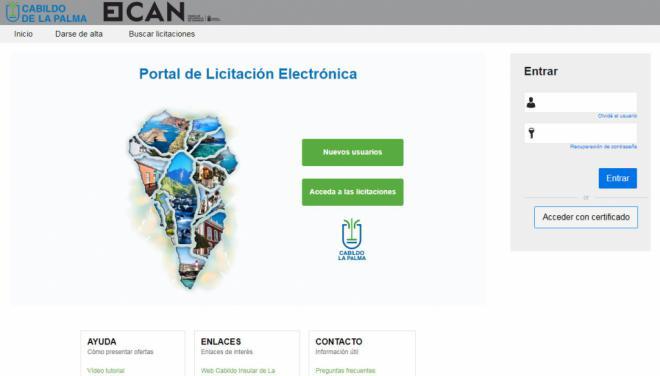 La Palma abre una plataforma de licitación electrónica para la contratación pública