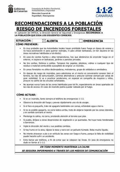 Prohibición de fuego en el monte y suspensión de caza mayor por la alerta de incendios forestales en La Palma