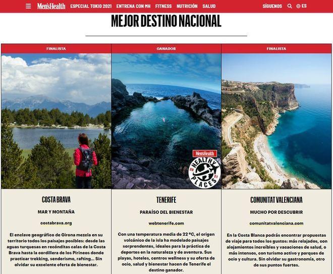 Tenerife, mejor destino nacional saludable, según los lectores de Men's Health