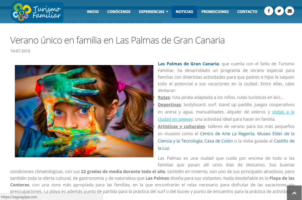 La Federación Española de Familias Numerosas recomienda pasar el verano en LPGC