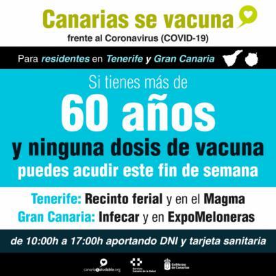 Los residentes en Gran Canaria y Tenerife mayores de 60 años pueden vacunarse este fin de semana sin cita previa