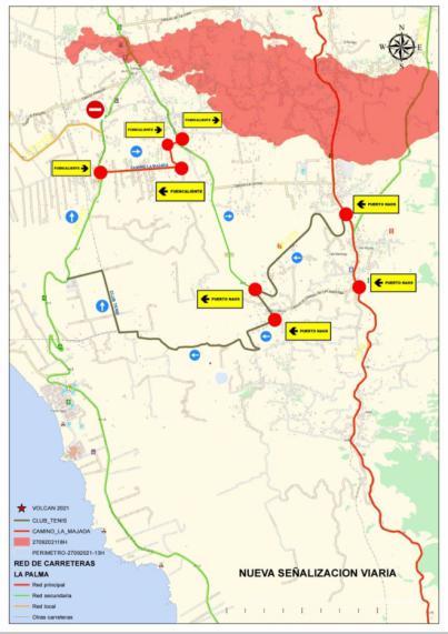 Se habilita dos vías alternativas para acceder al litoral del Valle de Aridane ante la afección de la carretera de la costa por la lava