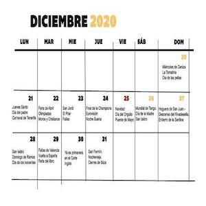 Todos los festivos del año y las competiciones deportivas concentrados en menos de un mes