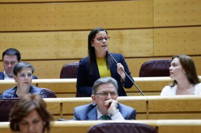 Yaiza Castilla traslada al Senado la necesidad de agilizar la firma del convenio de infraestructuras hidráulicas
