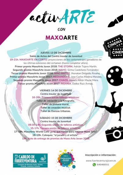 ¡ActivARTE con MaxoArte! con una proyección de cortometrajes, talleres artísticos y de formación