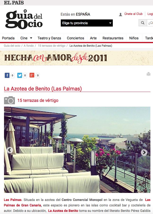 La Guía del Ocio incluye a La Azotea de Benito entre las 15 mejores terrazas de España