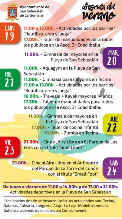 El cine al aire libre se incorpora al verano de San Sebastián de La Gomera