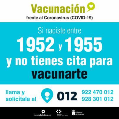 Los nacidos entre 1952 y 1955 que no hayan sido vacunadas contra la Covid-19 pueden solicitar cita en el 012