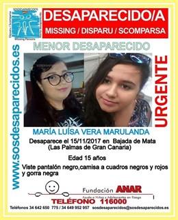 Desaparece una joven de 15 años en Las Palmas de Gran Canaria
