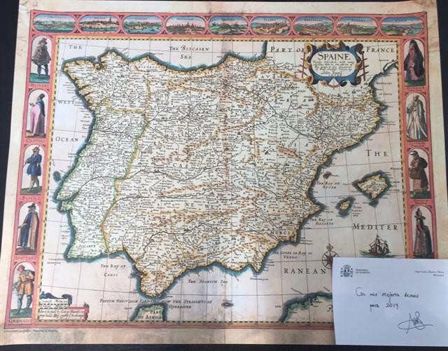 Ábalos felicita la Navidad con un mapa de España en el que no aparece Canarias