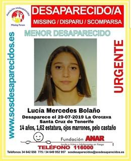 Buscan a una menor de 14 años desaparecida en La Orotava